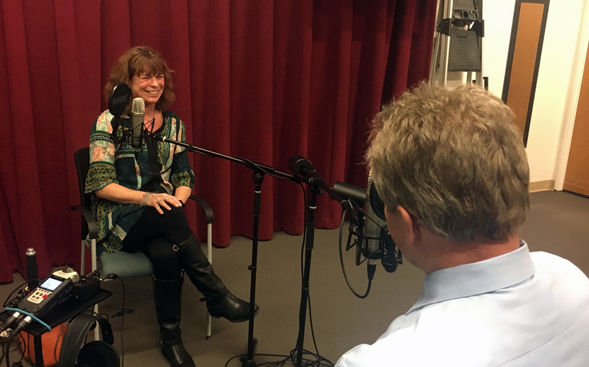 Mary Dodge and Ken McConnellogue recording this episode of CU On the Air Podcast
