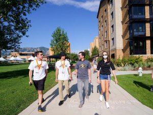 President Saliman visit students at CU Boulder